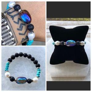 Titanium aura crystal pearls & turquoise bracelet